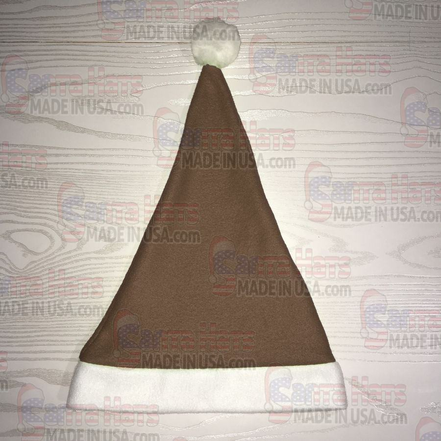 USA Brown Fleece Santa Hat