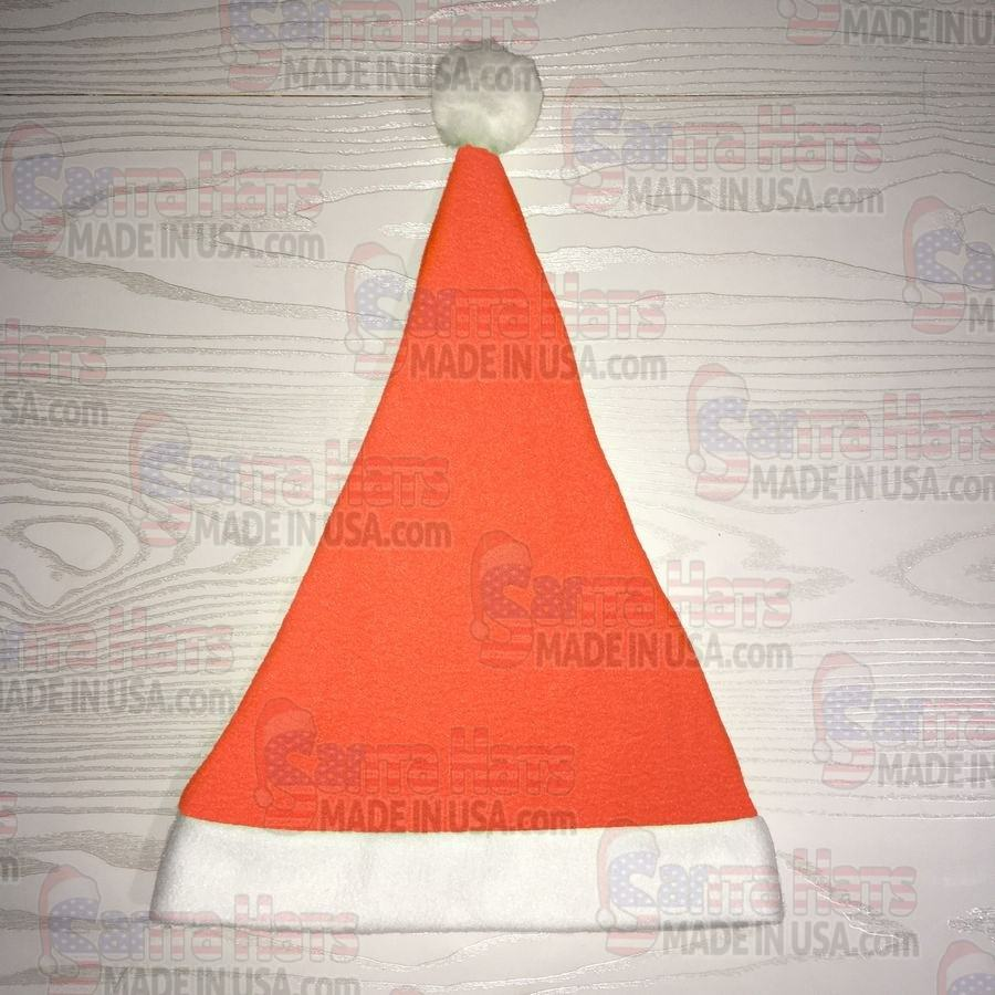 USA Neon Orange Fleece Santa Hat