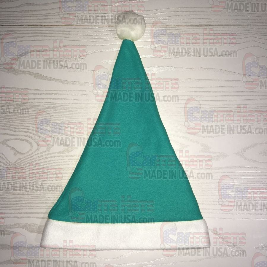 USA Teal/Turq Fleece Santa Hat