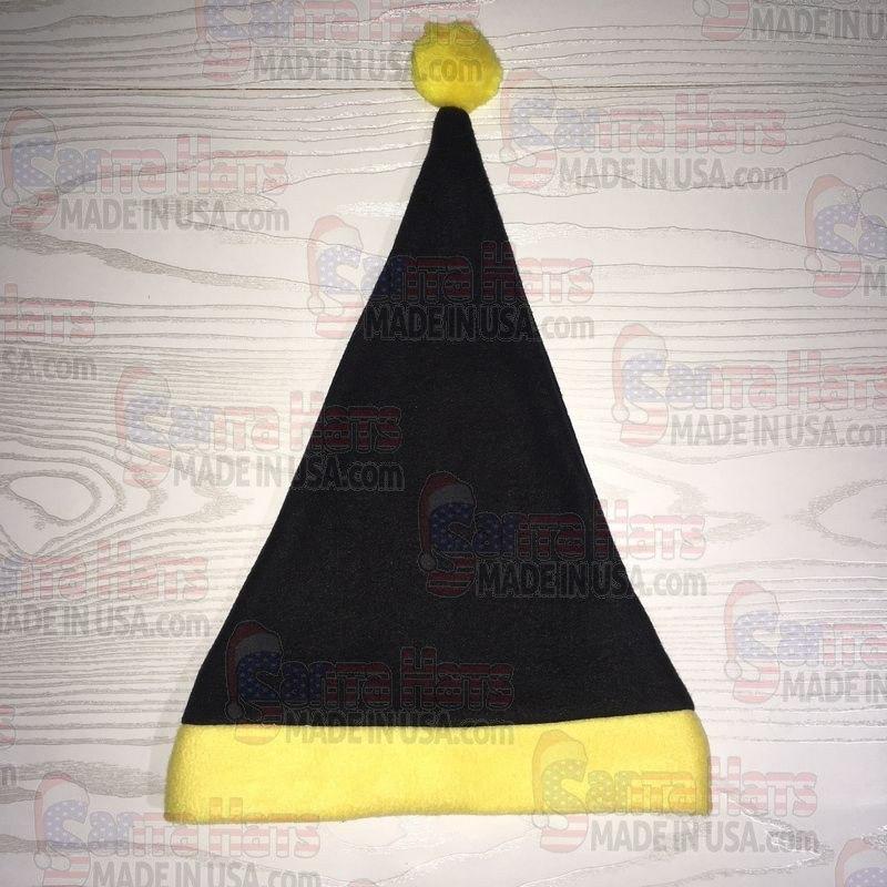 USA Black and Yellow Fleece Santa Hat