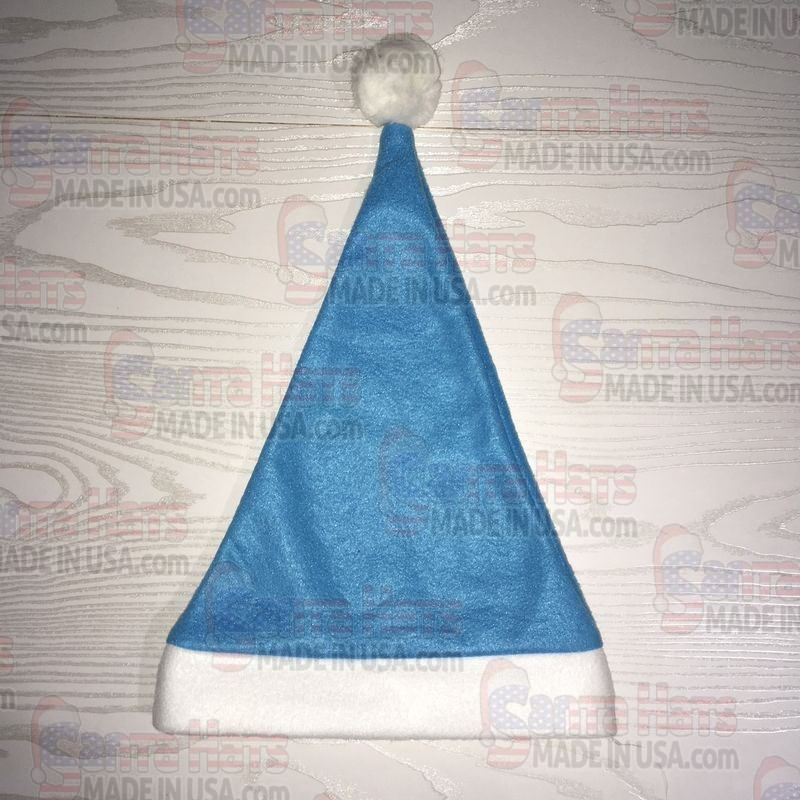 USA Light Blue Fleece Santa Hat